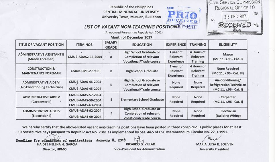 HIRING NON-Teaching Position 2017 3