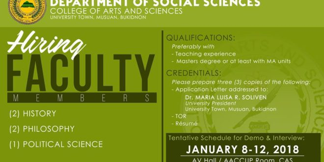 HIRING: CAS-Department of Social Sciences