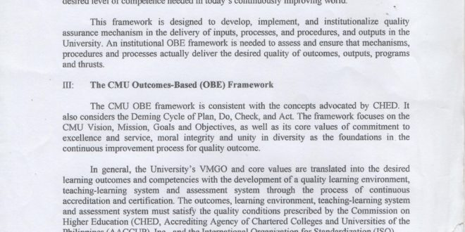 LOOK: Central Mindanao University Outcomes-based Education (OBE) Framework.