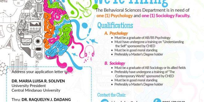 HIRING: Behavioral Sciences Department