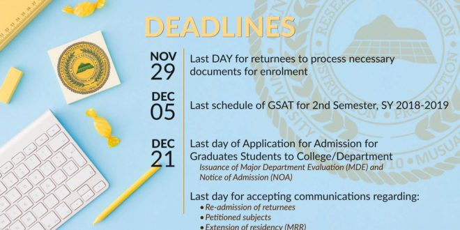 DEADLINES for First Semester