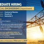 HIRING: Department of ELECTRICAL ENGINEERING