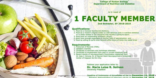 HIRING: Department of Nutrition and Dietetics