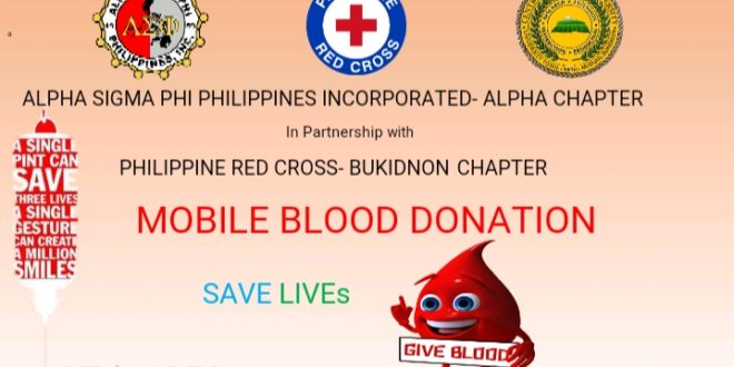 LOOK: Alpha Sigma Phi Philippines Incorporated – Alpha Chapter in partnership with the Philippine Red Cross – Bukidnon Chapter Mobile Blood Donation