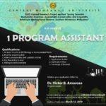 HIRING: 1 Program Assistant