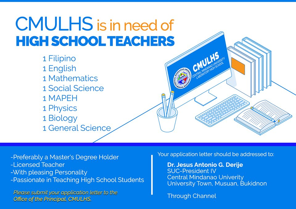 HIRING: CMULHS is in need of high school teachers