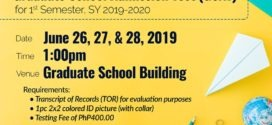 LOOK: Schedule for the Graduate School Admission Test (GSAT) for 1st Semester, SY 2019-2020