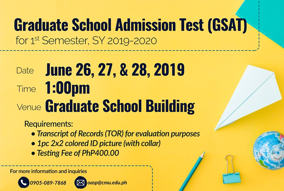 Cmu Calendar 2020 LOOK: Schedule for the Graduate School Admission Test (GSAT) for