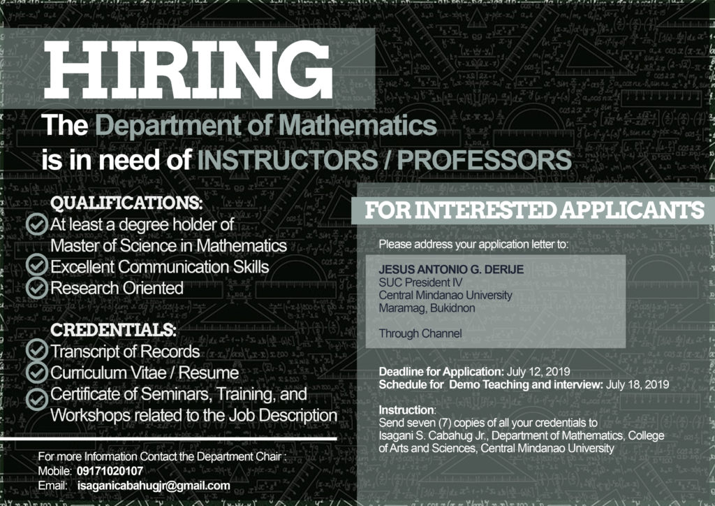 HIRING: The Department of Mathematics needs INSTRUCTORS/PROFESSORS