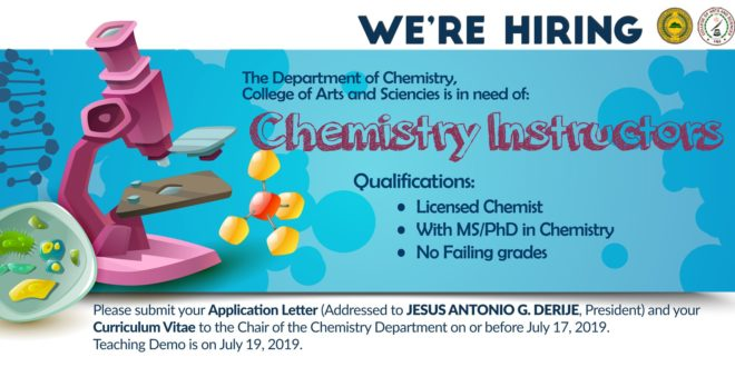 HIRING: The Department of Chemistry, College of Arts & Sciences is in need of Chemistry Instructors.