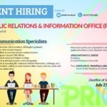 HIRING: The Public Relations & Information Office is in need of Four (4) Communication Specialists