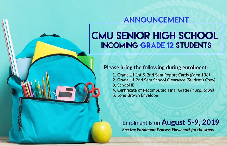 ANNOUNCEMENT: To all CMU Senior High School-Incoming Grade
