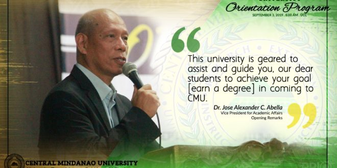 LOOK: VPAA, Dr. Jose Alexander C. Abella and University President, Dr. Jesus Antonio G. Derije left words to ponder in the recently concluded University Orientation