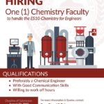 HIRING: One (1) Chemistry Instructor to handle ES10-Chemistry for Engineers