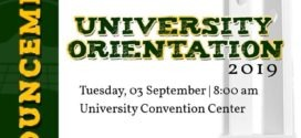 ANNOUNCEMENT: University Orientation 2019