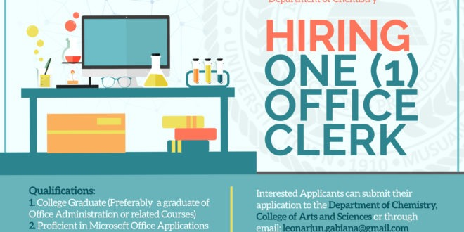HIRING: The Department of Chemistry, College of Arts and Sciences is in need of one (1) Office Clerk. #CMUToday #CMUJobs