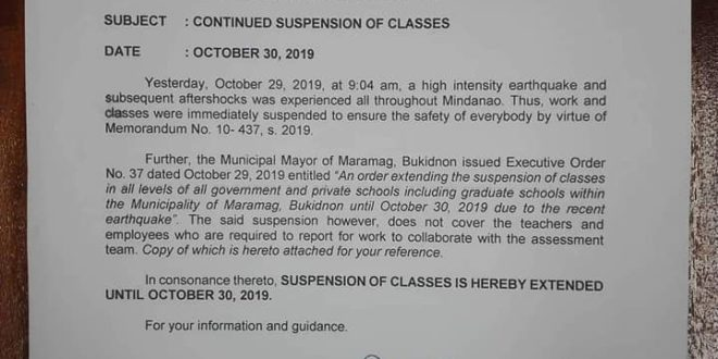 ANNOUNCEMENT: The Office of the University President: Continued suspension of classes on October 30- 31 and suspension of work on October 31