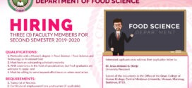 HIRING: Faculty – Food Science Department, College of Human Ecology