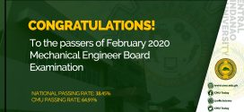 CONGRATULATIONS! To the passers of February 2020 Mechanical Engineer Board Examination