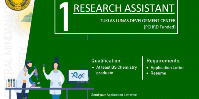 HIRING: The Tuklas Lunas Development Center is in need of one (1) Research Assistant