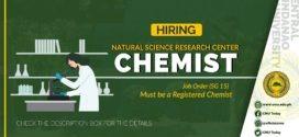 HIRING: ONE (1) CHEMIST