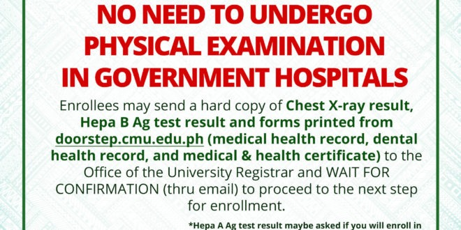 ANNOUNCEMENT: NO NEED TO UNDERGO PHYSICAL EXAMINATION IN GOVERNMENT HOSPITALS