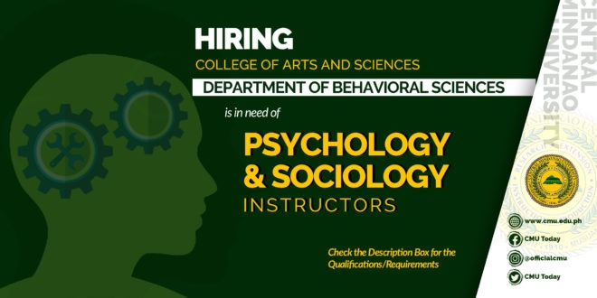HIRING: HIRING: The Department of Behavioral Sciences is in need of Psychology and Sociology Instructors
