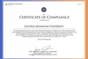LOOK: CMU is presented with a Certificate of Compliance for being fully-compliant with the enhanced Freedom of Information (FOI)