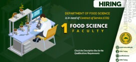 HIRING: The Department of Food Science is in need of one (1) contract of service faculty member this First Semester 2020-2021.
