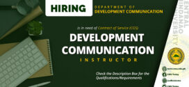 HIRING: The Department of Development Communication is in need of one (1) contract of service faculty member this First Semester 2020-2021.