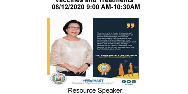 """LOOK: Center for Biodiversity Research and Extension in Mindanao (CEBREM) & Natural Products Research and Development Center (NPRDC) WEBINAR on """"COVID 19 Pandemic: SARS-Cov-2 Pathogenesis, Vaccines, and Treatments"""" August 12, 2020 9:00AM-10:30AM."""