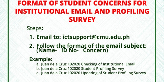 ANNOUNCEMENT: FORMAT OF STUDENT CONCERNS FOR INSTITUTIONAL EMAIL AND PROFILING SURVEY