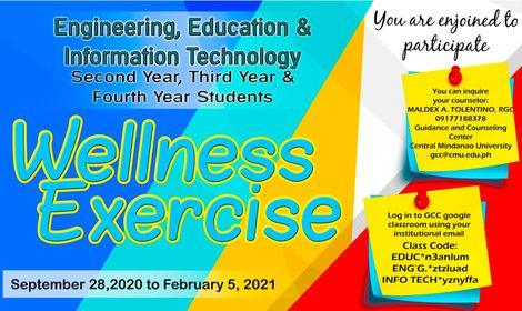 LOOK: The Guidance Center invites  2nd, 3rd, & 4th year students for a Wellness Exercise – Engineering, Education, & Information Technology.