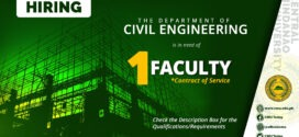 HIRING: The Department of Civil Engineering urgently needs One (1) Contract of Service Faculty.