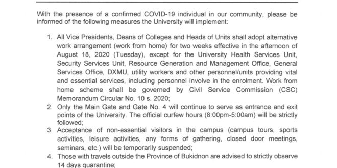ANNOUNCEMENT: CMU MEMO NO. 08-321-A, s. 2020 – UNIVERSITY INTERIM MEASURES on COVID-19