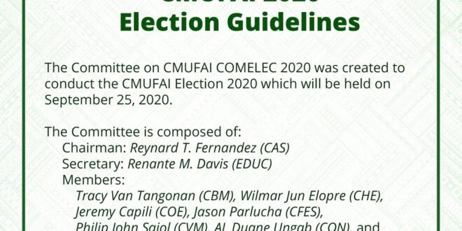 LOOK: CMUFAI (Central Mindanao University Faculty Association Inc.) 2020 Election Guidelines