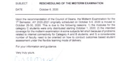 CMU OP MEMORANDUM No. 10-374, s. 2020 – RESCHEDULING OF THE MIDTERM EXAMINATION