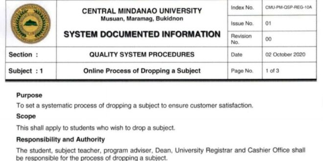 LOOK: Online Process of Dropping a Subject