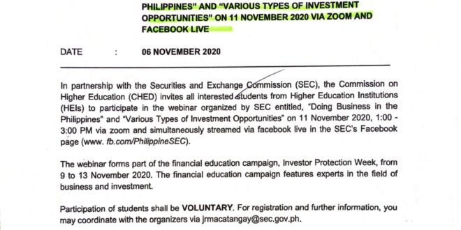 """The Commission on Higher Education (CHED) in partnership with the Securities and Exchange Commission (SEC) invites all interested students to participate in the webinar titled, """"Doing Business in the Philippines"""" and """"Various Types of Investment Opportunities"""" today November 11, 2020 at 1:00 – 3:00 PM via Zoom"""