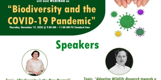 "LOOK: CEBREM will hold a WEBINAR on ""Biodiversity and the COVID-19 Pandemic"" as part of their 9th Anniversary Celebration on November 19, 2020, at 9:00-10:00 am PH STD."