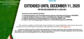 Extension of DOST-SEI application for Local Graduate Scholarship Program