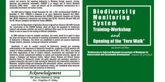 """LOOK: The Center for Biodiversity Research and Extension in Mindanao (CEBREM) will be conducting a Biodiversity Monitoring System Training-Workshop and Opening of the """"Fern Walk"""" on December 17-18, 2020."""