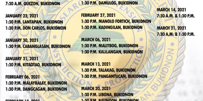 LOOK: CMUCAT In-Campus and Off-Campus (within Bukidnon) Schedule.
