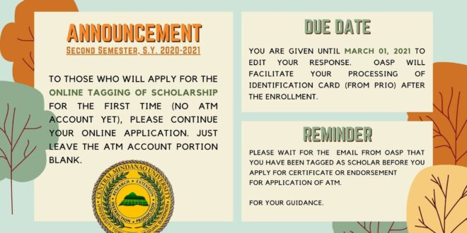 ANNOUNCEMENT: ONLINE TAGGING OF SCHOLARSHIP