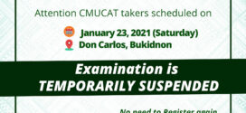ATTENTION: CMUCAT takers scheduled on January 23, 2021 (Saturday) in Don Carlos, Bukidnon. Your Examination is temporarily suspended.