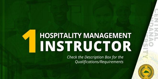 HIRING: Hospitality Management Instructor