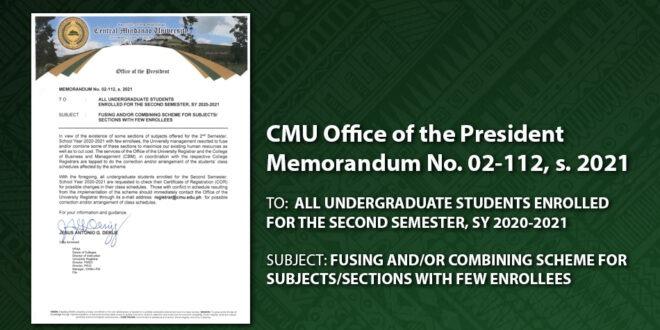 CMU OP Memorandum No. 02-112, s. 2021