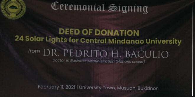Central Mindanao University receives 24 pieces of solar lights from Dr. Pedrito H. Baculio, February 11, 2021.