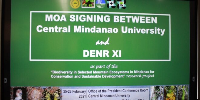 """Central Mindanao University MOA SIGNING with DENR XI as part of the """"Biodiversity in Selected Mountain Ecosystems of Mindanao for Conservation and Sustainable Development"""" research project."""