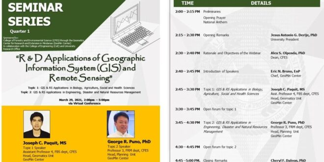 IN PHOTOS: CFES in coordination with the COE and the University Research Office conduct 'R&D Applications of Geographic Information System (GIS) and Remote Sensing via Zoom meeting and Fb live
